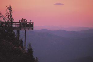 Observation deck over mountain range