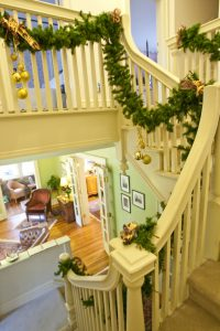 christmas decorations in the stair well