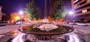 asheville north carolina fountain at night