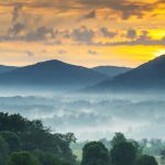 blue ridge mountains at dawn, foggy