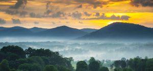 blue ridge mountains at dawn, foggy