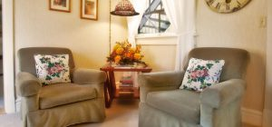 two plush chairs with floral throw pillows